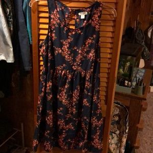Navy and floral dress